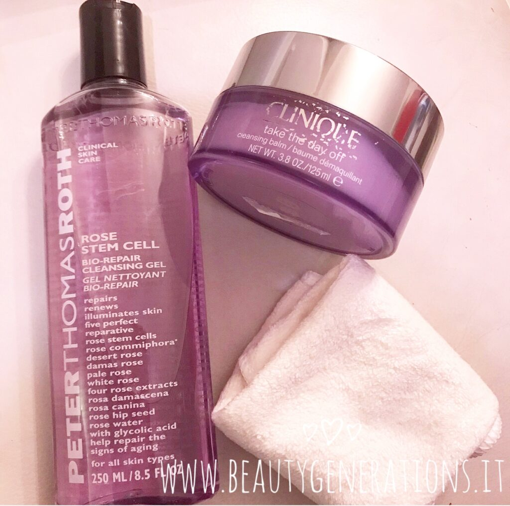 Take The Day Off di Clinique e Rose Stem Cell Cleansing Gel di Peter Thomas Roth