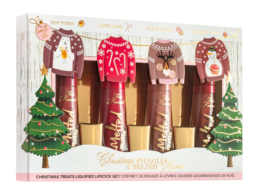 Too Faced Christmas Snuggles & Melted Kisses kit di rossetti
